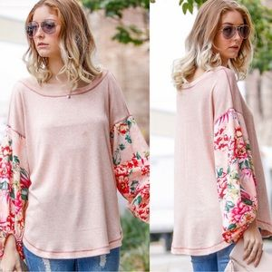 My Story Pink Peach Floral Drop Sleeve Blouse